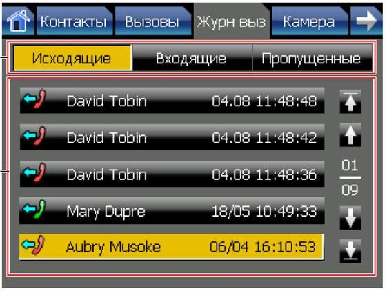 KX-NT400 - экран Журнал Вызовов