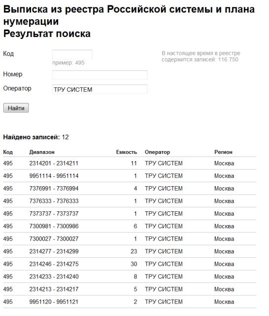 Результат поиска по названию оператора связи
